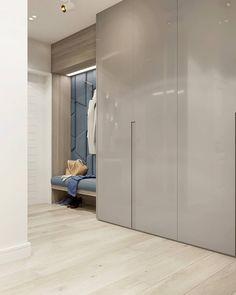 The black paneled walls and drop ceiling in this hallway lea Wardrobe Door Designs, Wardrobe Design Bedroom, Modern Bedroom Design, Closet Designs, Closet Bedroom, Hallway Closet, Bedroom Shelves, Entry Hallway, Wardrobe Closet