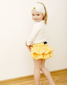 Yellow Ruffle Diaper Cover Baby Girl Bloomer Toddler Ruffle Pants Infant Birthday Outfit
