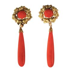 Rare 1960s Buccellati Red Coral Gold Pendant Earclips | From a unique collection of vintage clip-on earrings at https://www.1stdibs.com/jewelry/earrings/clip-on-earrings/