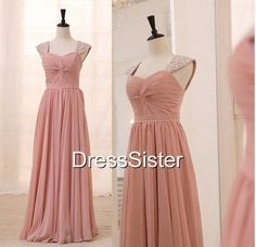 Long Blush Bridesmaid Dresses  Cap Sleeve by DressSister on Etsy, $139.99
