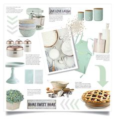 kitchen in mint by levai-magdolna on Polyvore featuring interior, interiors, interior design, home, home decor, interior decorating, Pier 1 Imports, Farmhouse Pottery, KitchenAid and Bloomingville