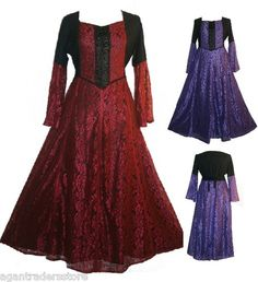 004-LACE-WEDDING-EVENING-PARTY-VAMPIRE-GOTHIC-COSTUME-RENAISSANCE-DRESS-GOWN