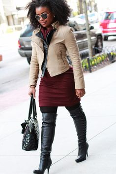 Outfit: Moto Jacket & Oxblood Dress & Boots