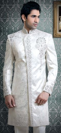 silver sherwani | Animated White Wedding Sherwani With Different Designs