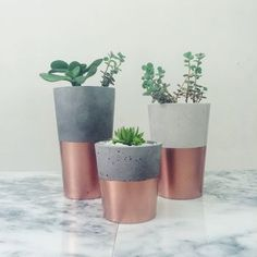 PIN These copper dipped cement mini pots are a great way to add a little bit of colour to what would usually be a plain cement pot. The greenery works well with the rose gold/copper colouring at the bottom of the pot, and acts as a visually pleasing or Cement Planters, Concrete Pots, Concrete Projects, Creation Bougie, Gold Bedroom, Copper Bedroom Decor, Copper Rose, Copper And Marble, Cement Crafts