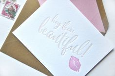 Hey There Beautiful Letterpress Note Card | Handmade Notecards | Pink Lips, Smooch | Premium Luxurious Greeting Cards | Feminine Gift Set | www.chelseabdesigns.com