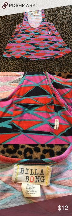 Billabong tank Super cute! Has small pocket on side. Looks brand new - no faded coloring. A little cropped in front Billabong Tops Tank Tops