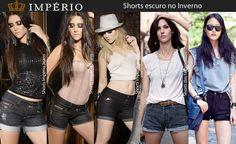 Shorts escuro é uma ótima opção para fugir do jeans azul. Nada melhor que um pretinho básico para o dia a dia.
