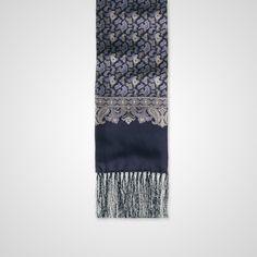 Blue Silk Paisley Print Scarf - Scarves - Accessories - Crombie