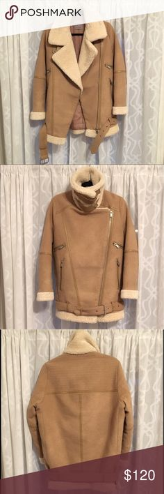 Zara Shearling Coat Jacket Zara shearling coat. Oversized fit. Very warm. Camel colored with cream shearling lining. Great condition, only worn 3 times. Zara Jackets & Coats