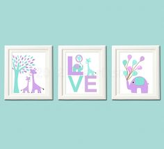 Love nursery Art Print, 8x10, baby girl, Kids Room Decor, Children Wall Art -  Purple, aqua, giraffe, elephant, lilac, lavender, turquoise. $14.95, via Etsy.