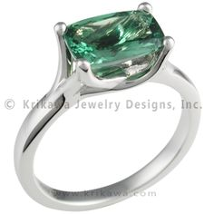 Angel Solitaire Engagement Ring with Tsavorite - This sculptural engagement ring has a cathedral-like arch supporting the center stone.   - This unusual engagement ring is set with a tsavorite garnet cushion.