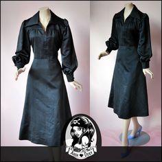Vintage Fab 1960s MOD Satin Black Dagger Collar Dress - http://www.ebay.co.uk/itm/Vintage-Fab-1960s-MOD-Satin-Black-Balloon-Sleeve-Dagger-Collar-Dress-Size-12-/371545583725?