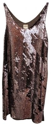 Haute Hippie V-Neck Silk Sequin Dress