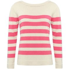 M&Co Striped Slash Neck Jumper ($18) ❤ liked on Polyvore featuring tops, sweaters, pink, woven top, long sleeve tops, pink top, jumpers sweaters and pink sweater