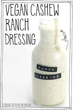 Vegan Cashew Ranch Dressing! 9 ingredients and 15 minutes or less to make. This creamy dressing tastes just like the classic but it's dairy-free, healthy, oil-free, whole food plant-based! Drizzle this over every salad, bowl, or you can even use it as a dip. #itdoesnttastelikechicken #veganrecipes #wfpb Vegan Ranch Dressing, Ranch Dressing Recipe, Oreo Dessert, Mini Desserts, Chutney, Whole Food Recipes, Vegan Recipes, Whole Foods Vegan, Vegan Foods