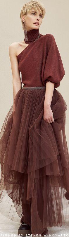 Brunello Cucinelli Fall Winter 2018 Fashion Show . marsala makes a come back