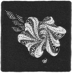 Aimée P. Belair, Certified Zentangle Teacher - CZT - Sutton, MA: Zentangle black tile study with Aquafleur and Indy-rella