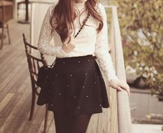 Lace top + black skirt with gold dots