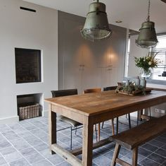 A look inside: from a farm to a lovely family home - A look inside: from a farm to a lovely family home - Hanging Furniture, New Furniture, Kitchen Furniture, Living Room Kitchen, Living Room Decor, Scandinavian Kitchen, Sweet Home, Dining Table, House Styles