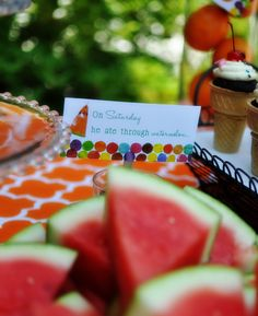 Watermelon...necessary for any summertime party and perfect that the Hungry Caterpillar ate it as well.