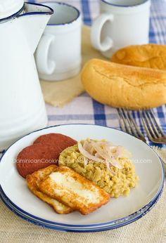 Dominican Mangú with Mashed Plantains, Fried Salami Queso frito (Fried cheese)... Yum