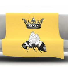 East Urban Home Queen Bee by Catherine Holcombe Fleece Throw Blanket Size: