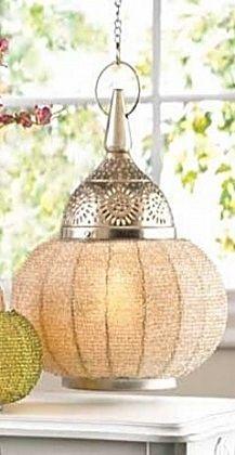 Large Silver Beaded Candle Lantern