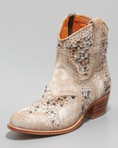 Deborah Star-Studded Ankle Boot, White by Frye at Neiman Marcus.