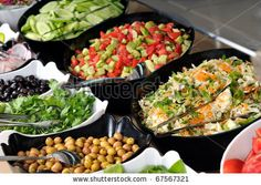 Catering food at a wedding. Salad buffet