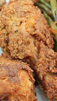 Oven Fried Buttermilk Chicken 1 chicken cut in 8 serving pieces1 quart buttermilk1 cup all-purpose flour1 cup panko style breadcrumbs1 tablespoon kosher salt2 tablespoons white pepper¼ cup chopped fresh parsley1 quart vegetable oil Directions: Thoroughly wash and rinse chicken pieces, then place in a large bowl and pour the buttermilk over them. Cover with plastic wrap and refrigerate overnight.Preheat the oven to 350 degrees F.Combine the flour, breadcrumbs, parsley, salt, and white pepper…
