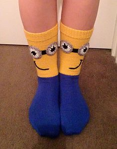 Ravelry: Minion Mania Socks pattern by Judy Kennedy Silly Socks, Funny Socks, Crazy Socks, Cute Socks, Kids Socks, My Socks, Awesome Socks, Crochet Mittens, Crochet Slippers
