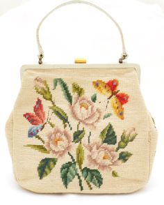 Vintage 1960s Ivory Cream Multicolor Floral Butterfly Needlepoint Leather Purse