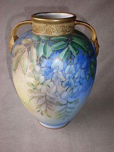 """Gorgeous Nippon Porcelain """"Wisteria"""" Vase"""