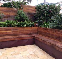 The most awesome Garden bench Decks Ideas 5515095014 Deck Seating, Backyard Seating, Backyard Garden Design, Small Backyard Landscaping, Rooftop Garden, Garden Seating, Outdoor Seating, Patio Design, Backyard Patio