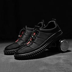 Men s Leather Splicing Stylish Bungee Closure Casual Sneakers 4fcb8804a