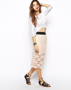 Free People Pencil Skirt in Pastel Lace