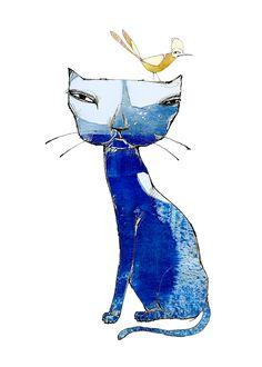 Blå katt - Print