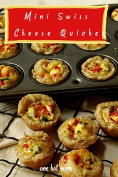 Bake these easy to make savory Mini Swiss Cheese Quiches for brunch, and appetizer or a snack. These bite-sized quiches have a flaky crust filled with a creamy egg and cheese custard. #CheeseQuiches #Quiches #Appetizer #OneHotOven Egg Recipes For Breakfast, Breakfast For Dinner, Brunch Recipes, Vegetarian Breakfast, Brunch Ideas, Breakfast Ideas, Fancy Appetizers, Easy Appetizer Recipes, Cheese Quiche
