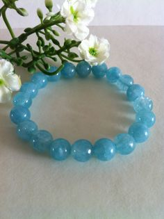 SALES  8 MM Natural Sky Blue Quartz Stretch by RainbowKnit on Etsy, $20.00
