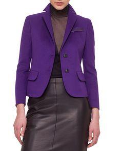 Double-Faced Cashmere Blazer, Size: 12, Clematis - Akris