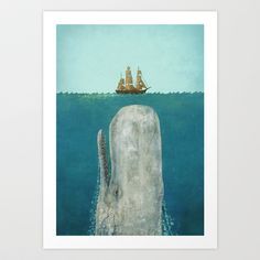 The Whale Art Print - I think I need this. I saw it shopping in downtown Santa Cruz today and can't get it out of my head for Sawyer's room.