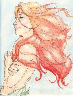 Little Mermaid - Briliant Ariel colors: disney, colored pencils