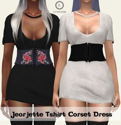 Jeorjette T-shirt Corset Dress at Lumy Sims • Sims 4 Updates