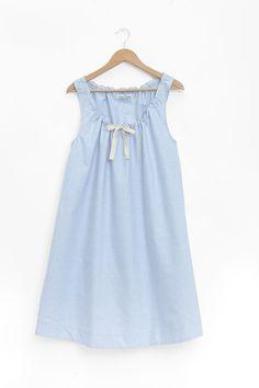 Sleeveless Nightie Blue Oxford Stripe cb2af59b4