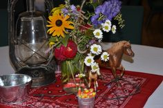 Country BBQ theme with red bandanas, lanterns, late summer flowers in mason jars, galvanized pails, Breyer horses.