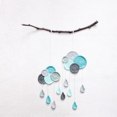 Wall Hanging Clouds with Drops by kikalite on Etsy