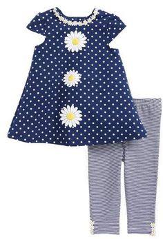 0f173b324 Little Me Daisy Polka Dot Dress   Stripe Leggings Set (Baby Girls)