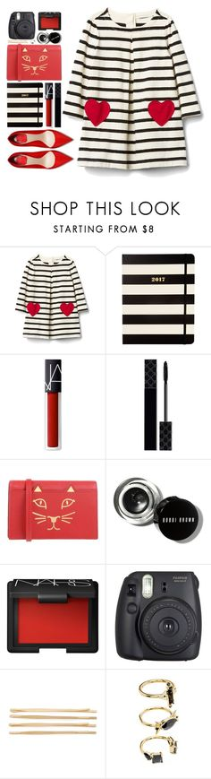 """#1087 Gracie"" by blueberrylexie ❤ liked on Polyvore featuring Kate Spade, NARS Cosmetics, Gucci, Charlotte Olympia, Bobbi Brown Cosmetics, Fuji, Cara and Noir Jewelry"