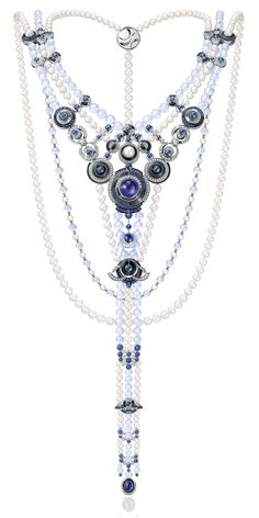 Chow Tai Fook Le Danse de Temps necklace inspired by Robert Delaunay, set with blue sapphires, rock crystal, chalcedony and cultured pearls. http://www.thejewelleryeditor.com/jewellery/chow-tai-fook-le-labyrinthe-artistique-high-jewellery-collection-masterclass-in-abstract-art/